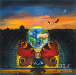 earth and butterfly wings with figure inside of a mandala