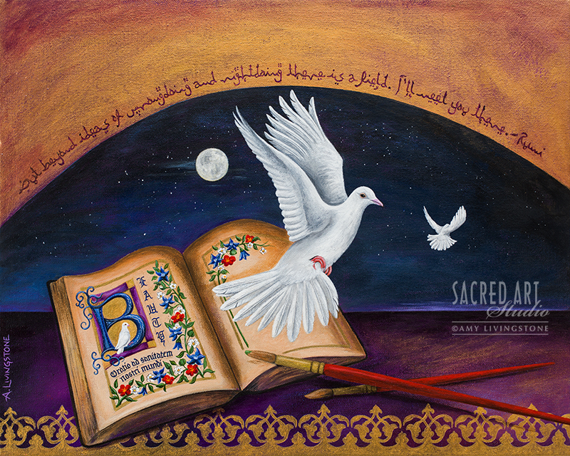 book with peace dove and moon