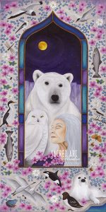 Animals of the Arctic with old woman and full moon