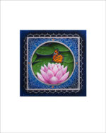 pink lotus with monarch butterfly mandala